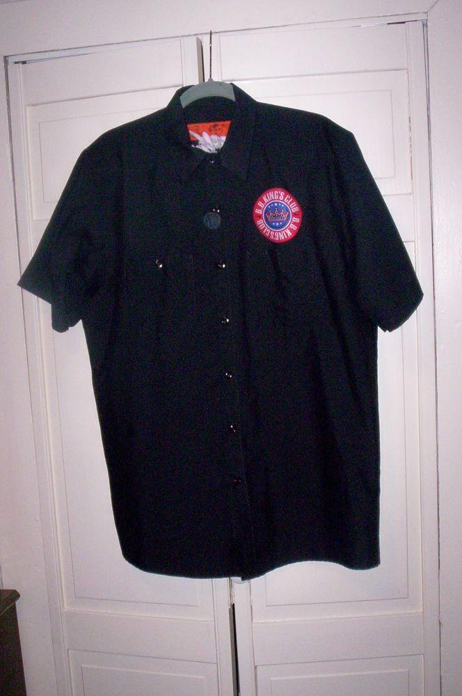 Rare BB KING Club Signed Short Sleeve Button Front Black Shirt L #RedKap #ButtonFront