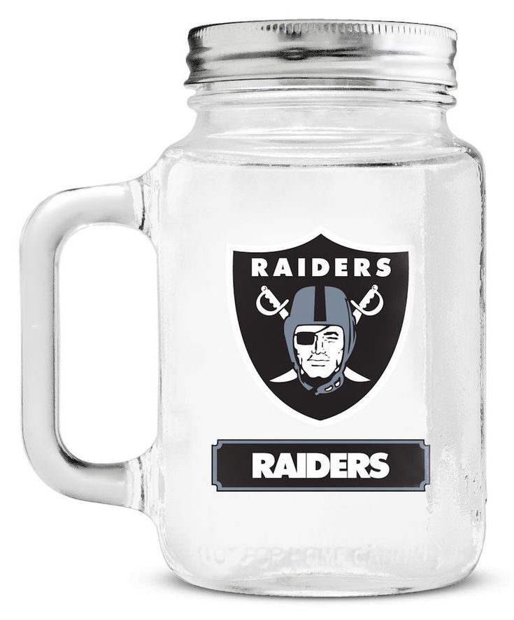 Oakland Raiders Mason Jar Glass With Lid