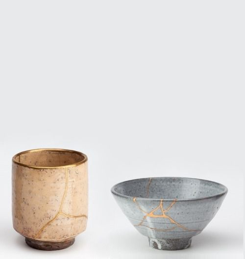 Kintsugi (to patch with gold) or Kintsukuroi (to repair with gold) is the Japanese art of fixing broken pottery and ceramics using a lacquer resin sprinkled with powdered gold (or silver). Rather than being concealed, the damage is celebrated and becomes a defining feature of the object. As a general rule, the repaired artifact acquires far higher value and enjoys greater appreciation than it had in its previously undamaged state.