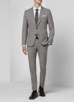 Costume gris - Prince de galles 15EC3DOHA-D507/30 - Costume slim homme