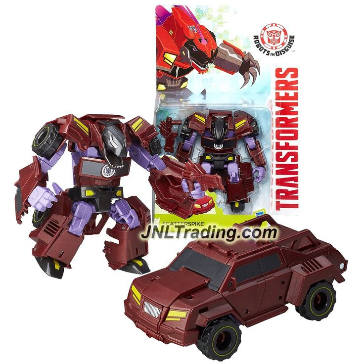 "Hasbro Year 2015 Transformers Robots in Disguise Animation Warrior Class 5-1/2"" Tall Figure - Decepticon SCATTERSPIKE with Blaster (Vehicle: Truck)"