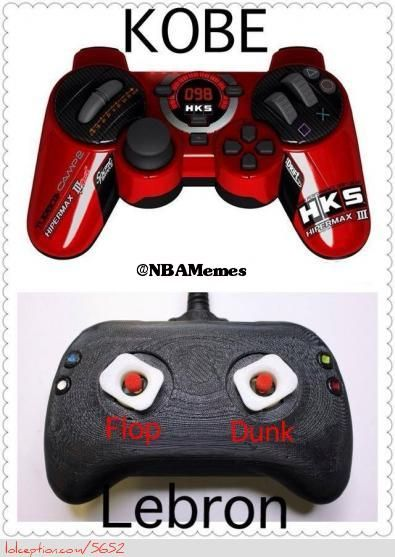 Kobe Bryant vs. LeBron James: Controller Edition! - http://weheartnyknicks.com/nba-funny-meme/kobe-bryant-vs-lebron-james-controller-edition