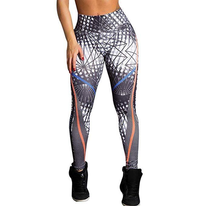 Women High Waist Yoga Fitness Leggings Running Gym Stretchy Print Pants Trousers