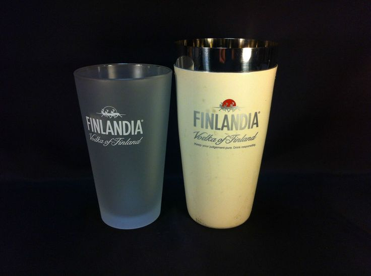 Finlandia Vodka glass & metal cocktail drink shaker, finland bar mixer