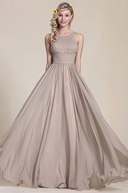 A Line Sleeveless Grey Bridesmaid Dress (07153908) - USD 112.65