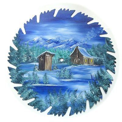 Lâmina De Serra Pintado À Mão Azul Inverno Montanha Cabana rústica e fora de casa