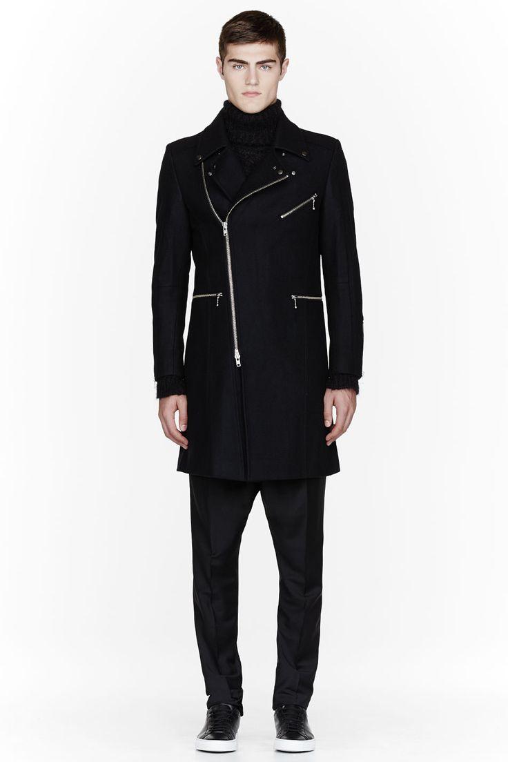 CY CHOI Black wool six-zip coat