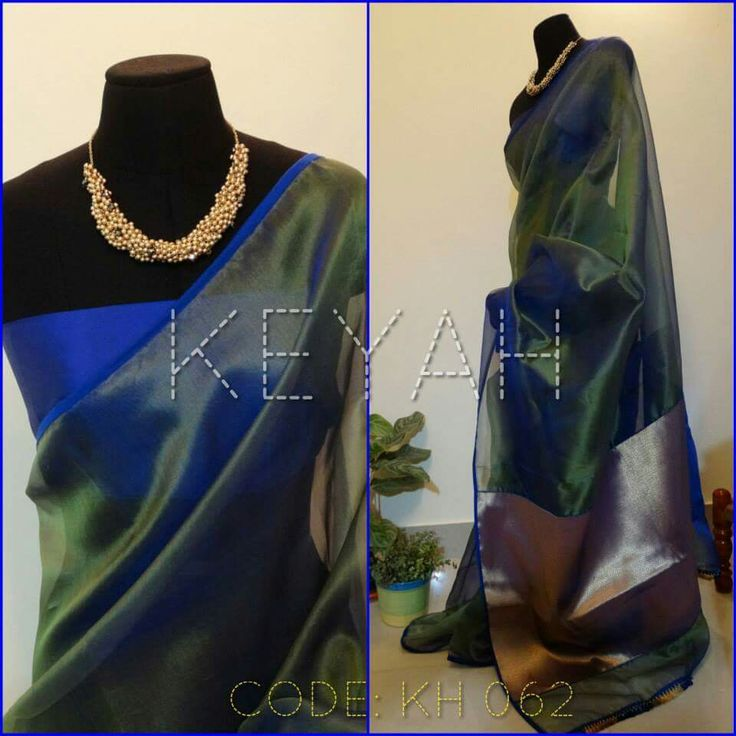 Organza saree in beautiful peacock blue! Love it!!!