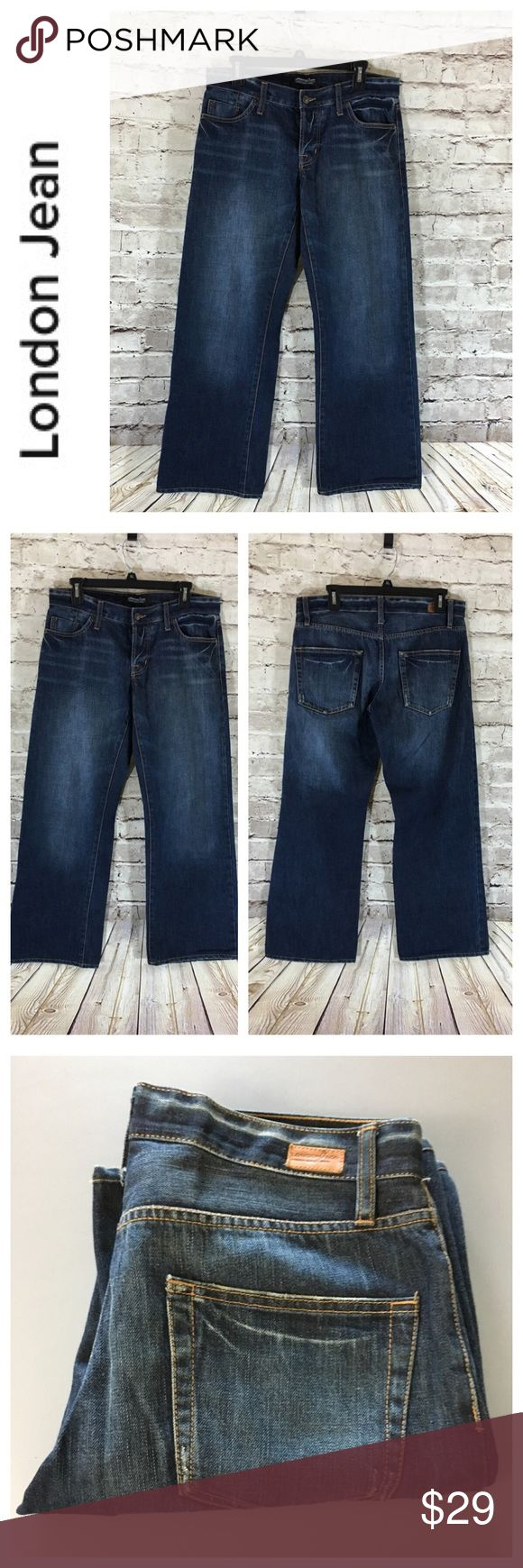 """💸London Jean wide leg denim Jean in size 6 💸London Jean wide leg denim Jean in size 6 inseam 28 1/2"""" and rise 8 1/2"""" leg width opening is 10"""" across. Measurements are approximate. Button fly closure. Jean is a cross between boyfriend and wide leg, both extremely stylish! Perfect with a white tee and sneakers! Rolled or unrolled this jean has options! London Jean Jeans Flare & Wide Leg"""