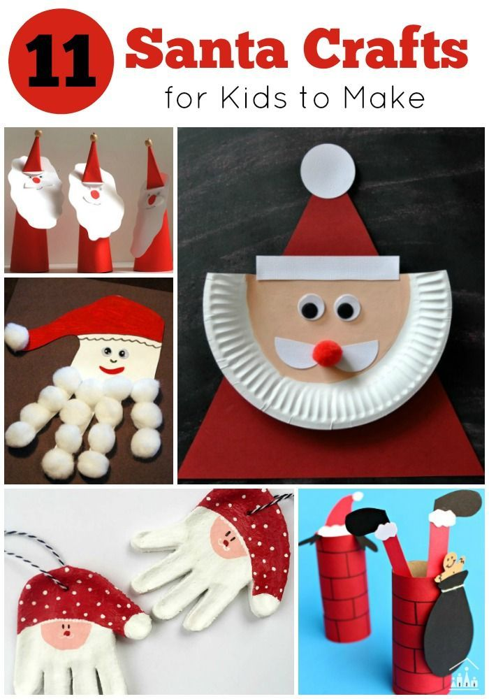 10 Santa Crafts for kids to make this Christmas. Have fun making ornaments for your Christmas Tree, crafts from paper and paper-plates and ideas for Santa keepsake gifts.