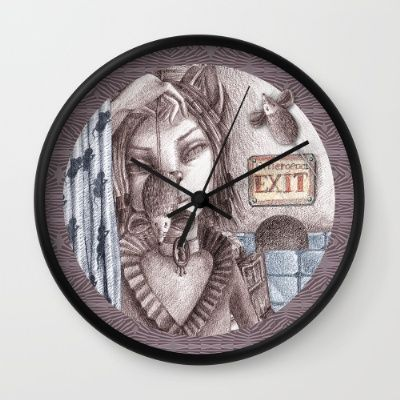 Cat metamorphosed https://society6.com/product/cat-metamorphosed_wall-clock#33=282&34=285 #society6 #catwoman #cat #mouse #metamorphosed #Tales of La Fontaine #clock