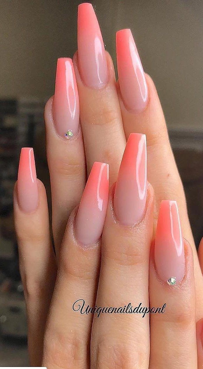 Pink Ombre Nails Coffin Short With Images Pink Ombre Nails