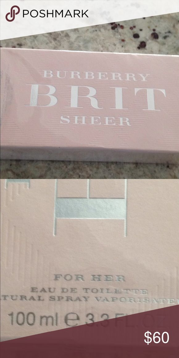 Brand new Burberry Brit SHEER Perfume Brand new still in wrapping. 3.3 oz Burberry Brit SHEER Perfume. Burberry Other