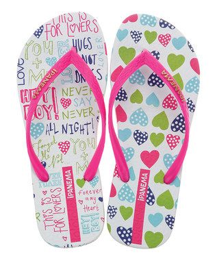 White Funky Hearts Flip-Flops - Toddler & Girls