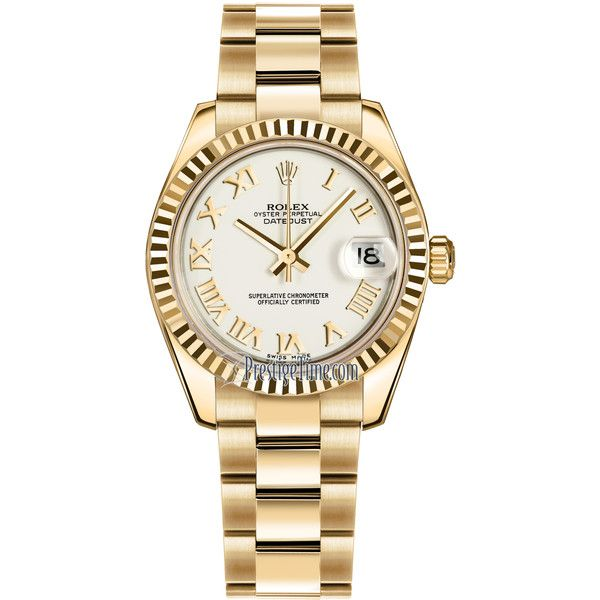 Rolex Datejust 31mm Yellow Gold 178278 White Roman Oyster Watch ($20,623) ❤ liked on Polyvore featuring jewelry, watches, white gold jewellery, white wrist watch, yellow gold watches, white gold crown and white crown