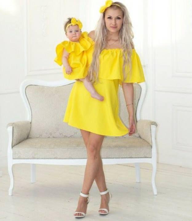 Sunshine Yellow Mother / Daughter Dress Ensembles