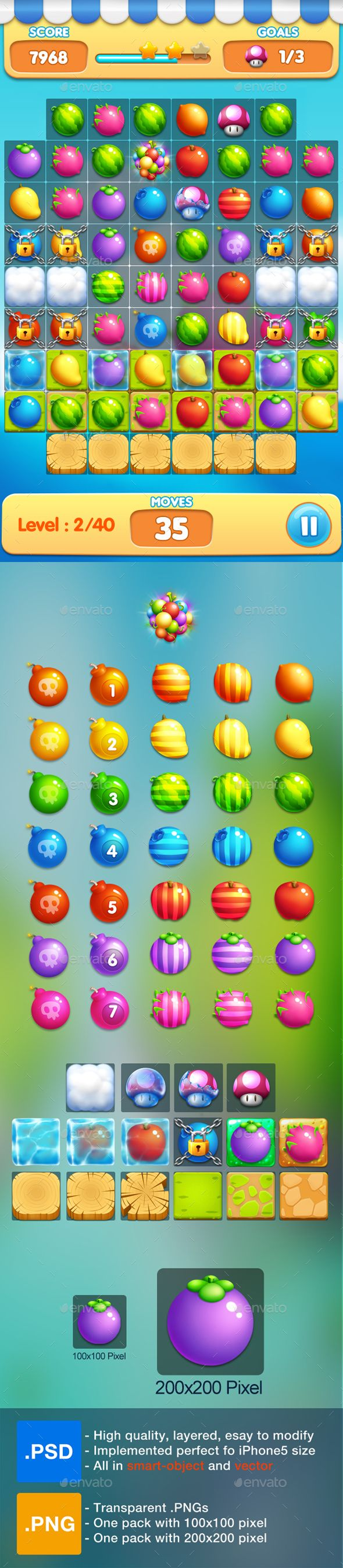 Fruits - Match 3 Game Assets.  	2d, cute, design, farm, fruits, game, game assets, game gui, game kits, garden, items, lock, match 3, mobile, mobile game, object, sweet