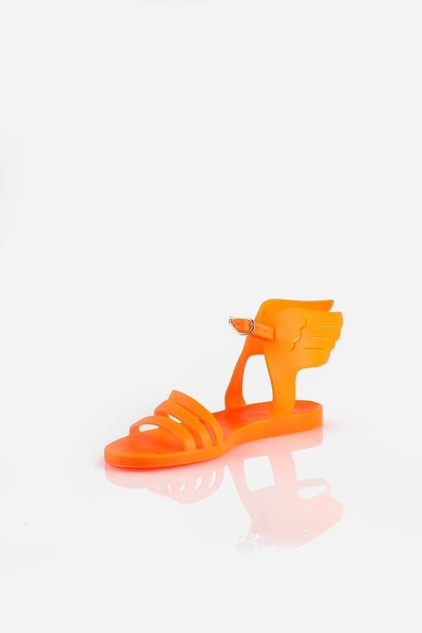 Ancient Greek Sandals Ikaria Fluro Orange Flats