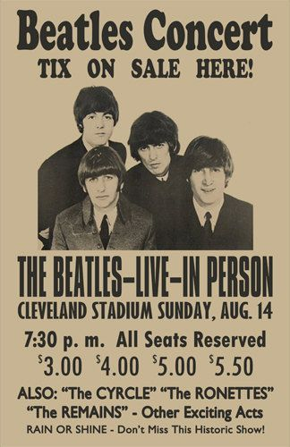 Beatles 1966 Cleveland Concert Poster by ClevelandRockAndRoll