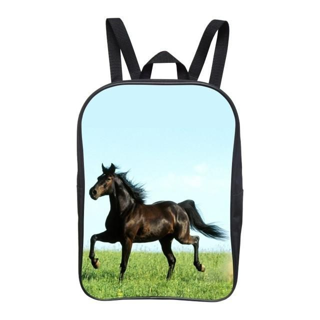 2016 Popular 12-Inch Cool Printing Horse Baby Boy Animal Backpack Children Girls School Bags for Kids Bookbag for Student Bag