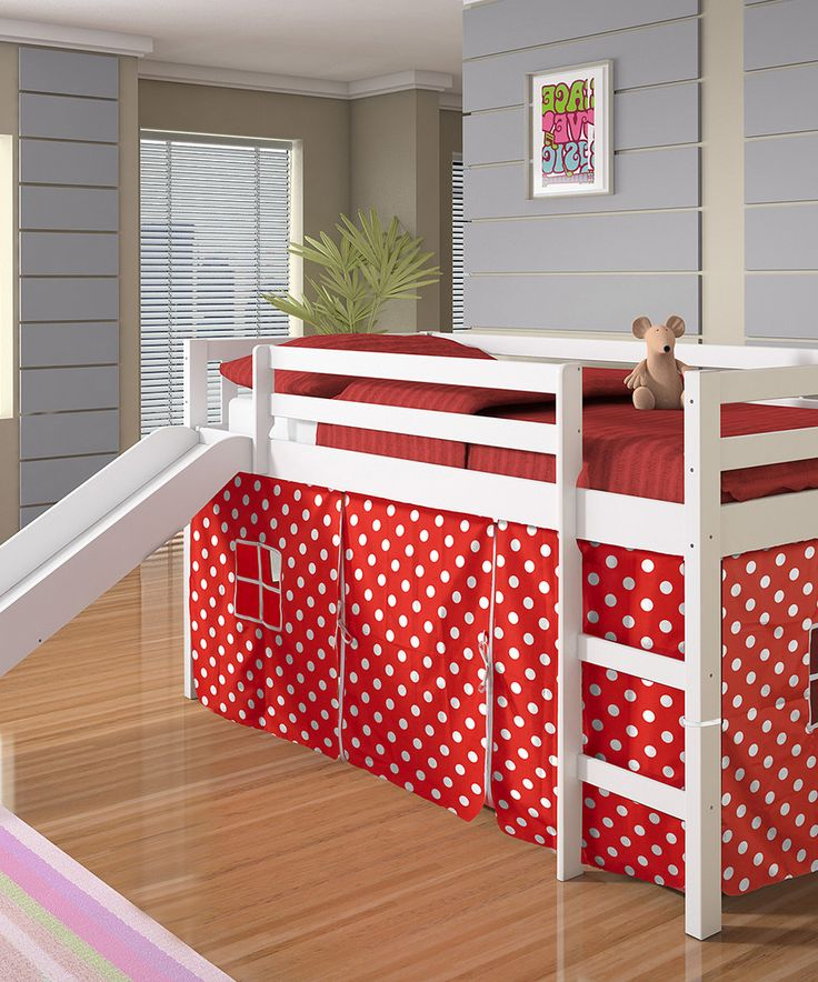 Love this Red & White Polka Dot Tent Loft Bed & Slide by
