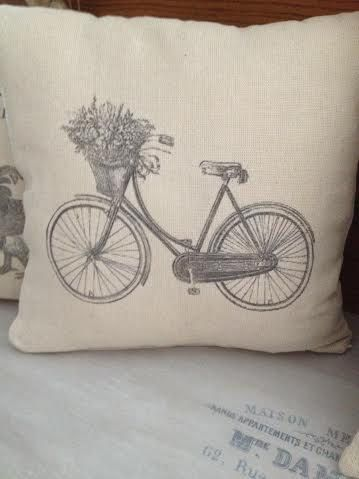 """Vintage Cushion with Provencal Style """"Bicycle"""" by ByBeeSee on Etsy"""
