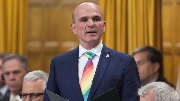 Liberal MP Randy Boissonnault rises in the House of Commons on June 13, 2016. Prime Minister Justin Trudeau has named Boissonnault as his special advisor on LGBTQ2 issues. Boissonnault will work with advocacy groups to promote equality for lesbians, gays, bisexual, transgender, queer and two-spirited people - a term used broadly to describe indigenous people who identify as LGBTQ. (Adrian Wyld / THE CANADIAN PRESS)