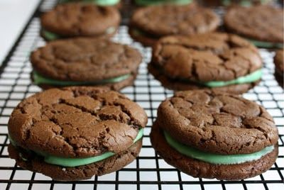 chocolate mint sandwich cookies - made these for my dad's bday. the recipe is delicious (the cookies don't taste the best on their own, but are PERFECT with the mint filling!), and mine turned out MUCH fluffier than the ones pictured here. still perfectly edible, just not the flattest cookies. will make these again!