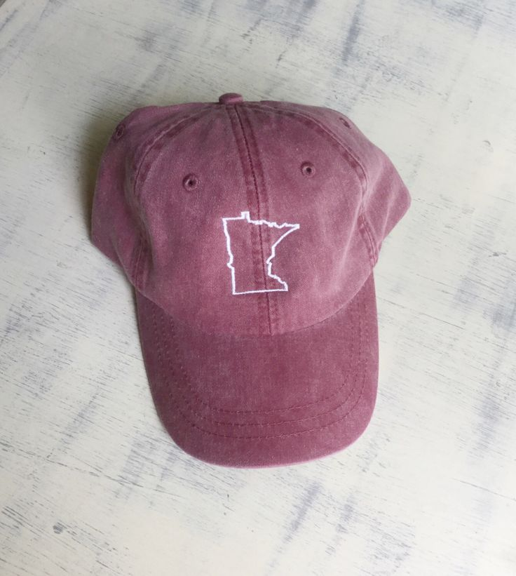 State of Minnesota baseball hat - Pigment dyed hat - State hat - Monogrammed hat - State outline hat - State hat - Sports team hat - Gameday hat - Minnesota hat - Team spirit hats