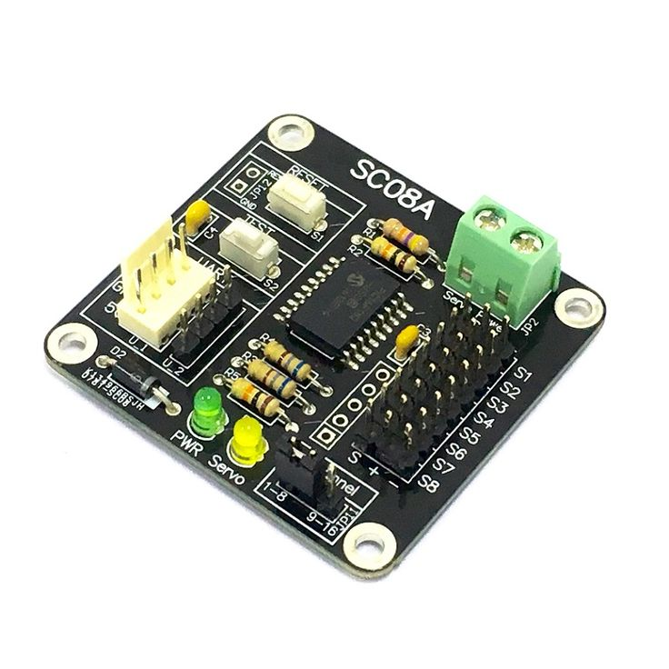 C08A offers reliable yet user-friendly RC Servo motor controller to hobbyist and students. This SC08A can control 8 channels of servo simultaneously.