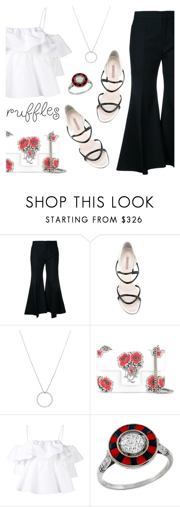 """""""Add Some Flair: Ruffled Tops"""" by dressedbyrose ❤ liked on Polyvore featuring Irene, Fabrizio Viti, Roberto Coin, Alexander McQueen, MSGM, polyvoreeditorial and ruffledtops"""