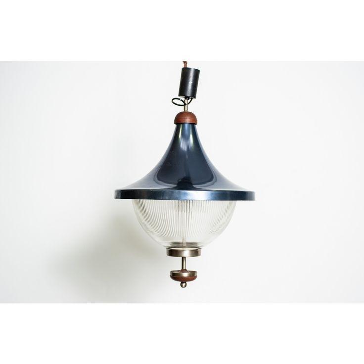 Lampadario con vetro industriale produzione Italia anni 60 colore Blu