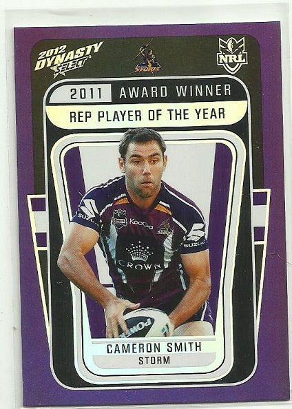 2012 NRL SELECT DYNASTY MELBOURNE STORM CAMERON SMITH AW4 AWARD WINNER CARD…