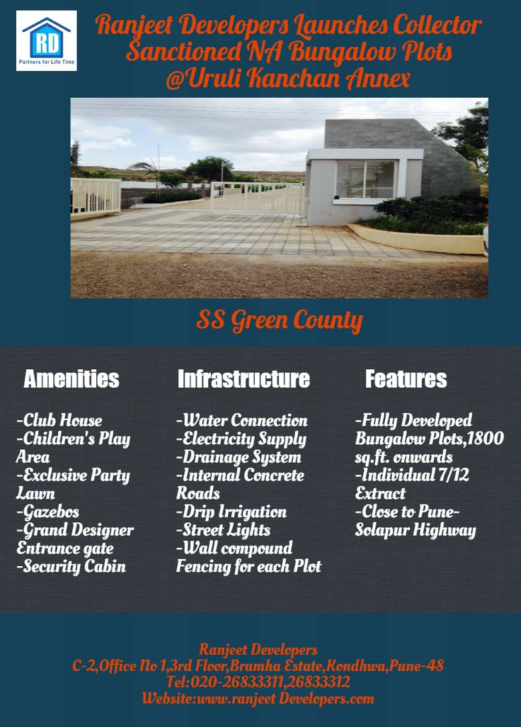 Ranjeet Developers Launches NA Bungalow Plots Project SS Green County @Uruli Kanchan Annex.