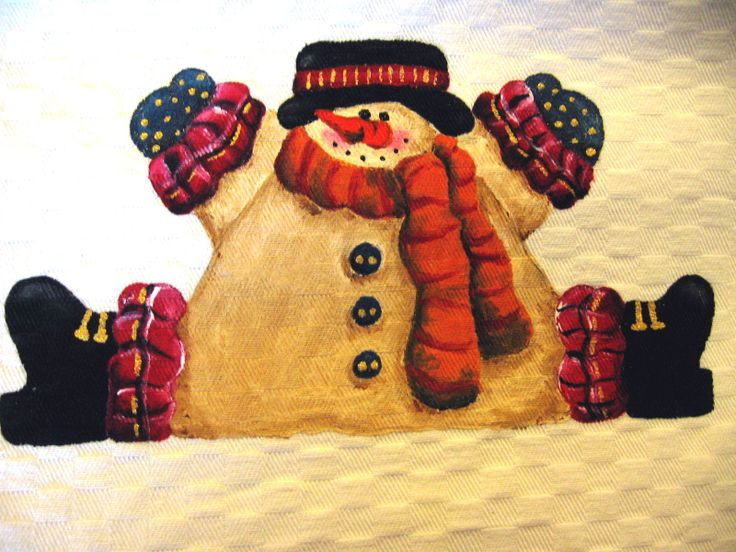 Natale country painting - pupazzo di neve seduto, in rosso