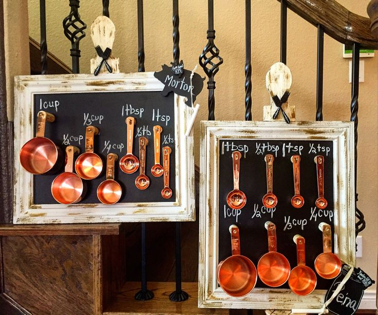 Measuring Spoons Organizer: Vintage Chalkboard Measuring Cup And Spoon Holder
