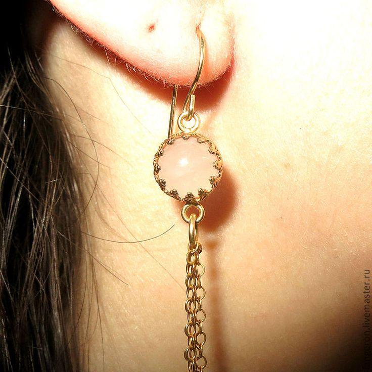 "Серьги ""Тоскана"". Голдфилд 1 карат. Розовый кварц - Langeron Jewelry - Ярмарка Мастеров"