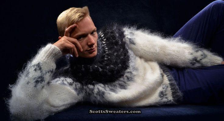 Men's custom hand-knit mohair sweater
