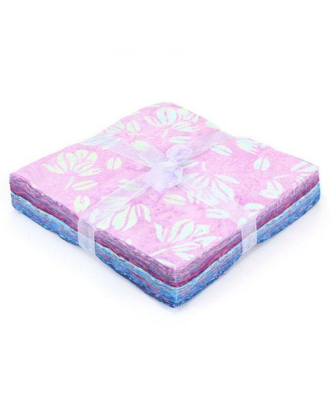 LOUDelephant Cotton Batik Charm Pack Pre Cut Fabric Bundle - Pinks to Blues