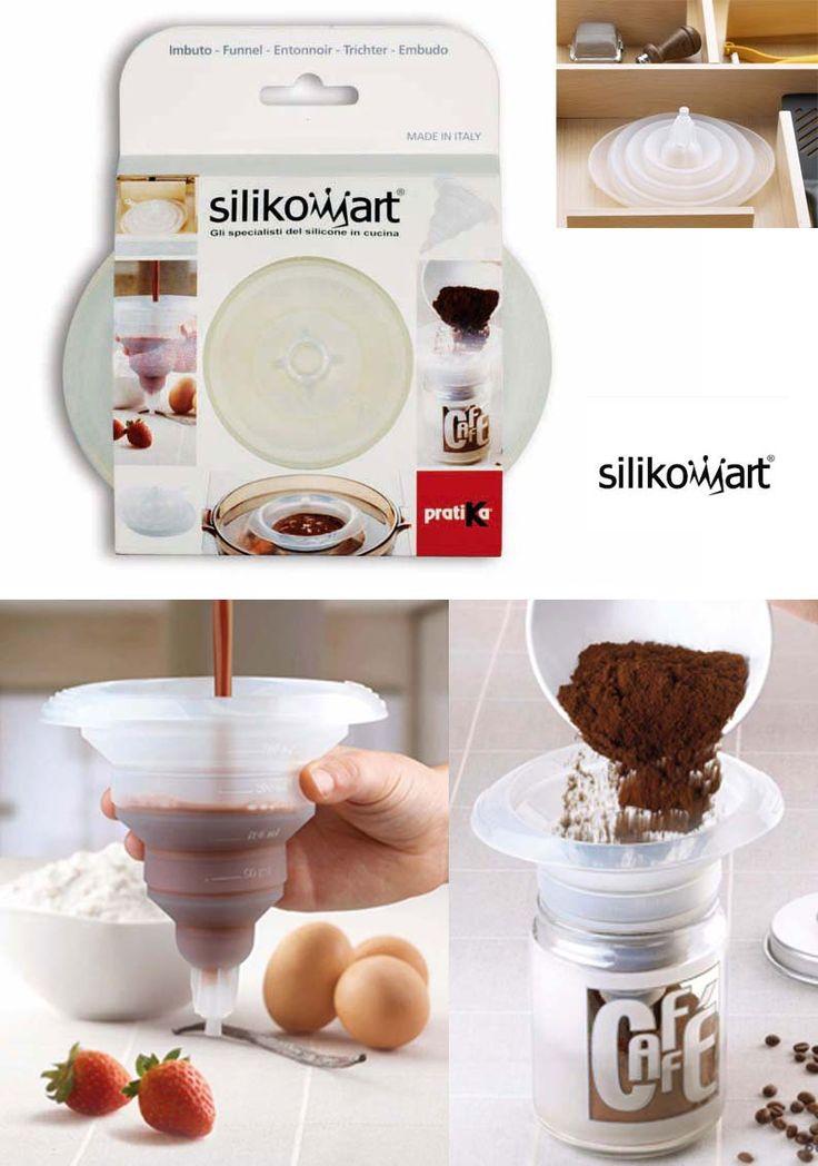 Silikomart -Imbuto in silicone. Pratico, maneggevole e salva spazio, può essere utilizzato come dosatore applicando il tappo di chiusura alla base - 16 x 12 h 15 cm, 300 ml