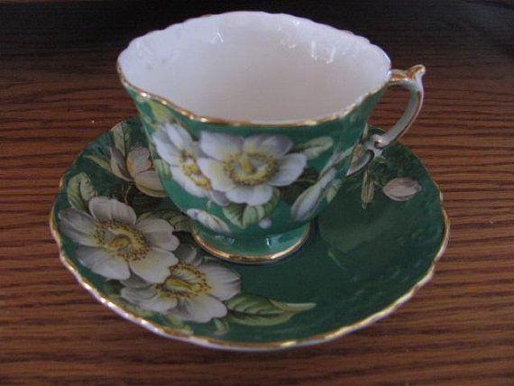 Aynsley Green Tea Cup Saucer Bone China C1087 Floral Emerald Green Tea Cups Tea Cups Tea Cup Saucer
