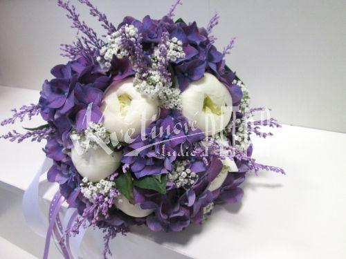 Svatební květiny | Svatební kytice | Kulatá svatební kytice z pivoněk a hortenzie č. 495. | Květiny online, prodej a rozvoz květin