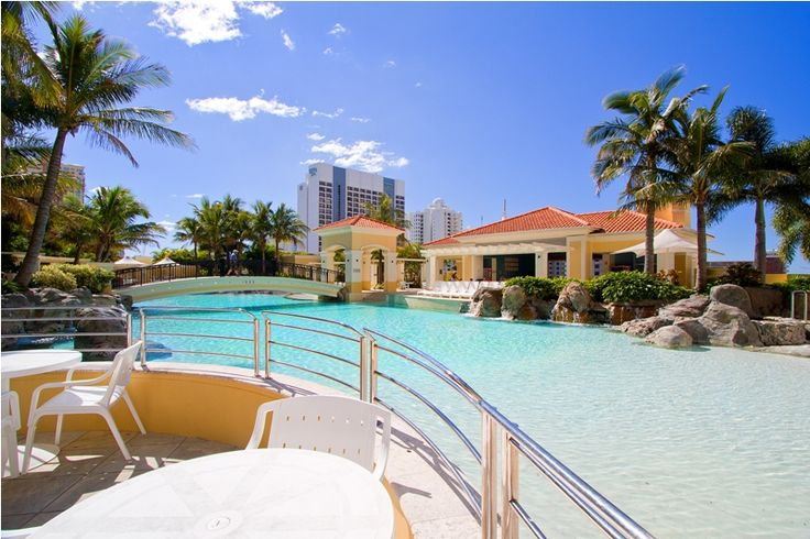 The amazing swimming pool at the Towers of Chevron on the Gold Coast