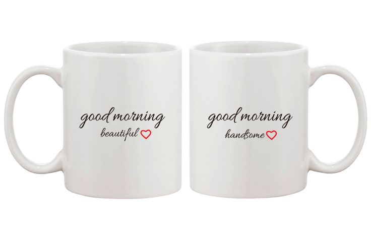 His and Hers Mug Set Good Morning handsome and Good Morning Beautiful Coffee Mug for Couples 11oz White by HappySunshinePrint on Etsy