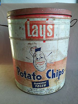 "Vintage 1960's Frito Lay's Potato Chip Tin Can Dallas Texas 14 1/2"" high x 12"""