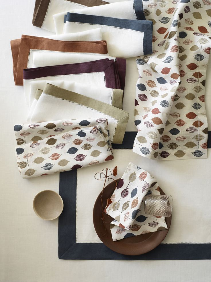 New for fall! 5 delicious colors of Filetto: Walnut, Indigo, Hazelnut, Raisin, and Olive designed to coordinate with Tilton printed runners and napkins.