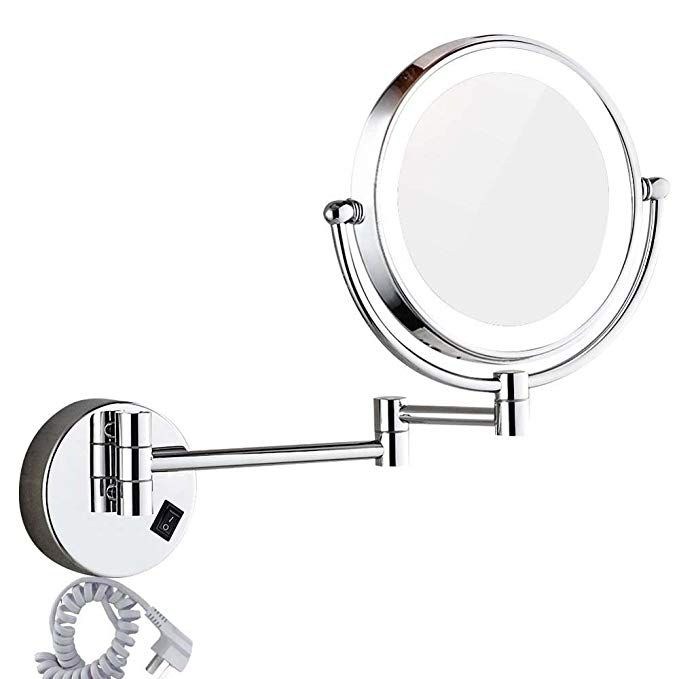 Dowry Wall Mounted Led Lighted Vanity Makeup Mirror With 10x Magnification Double Si Wall Mounted Lighted Makeup Mirror Makeup Mirror With Lights Makeup Mirror