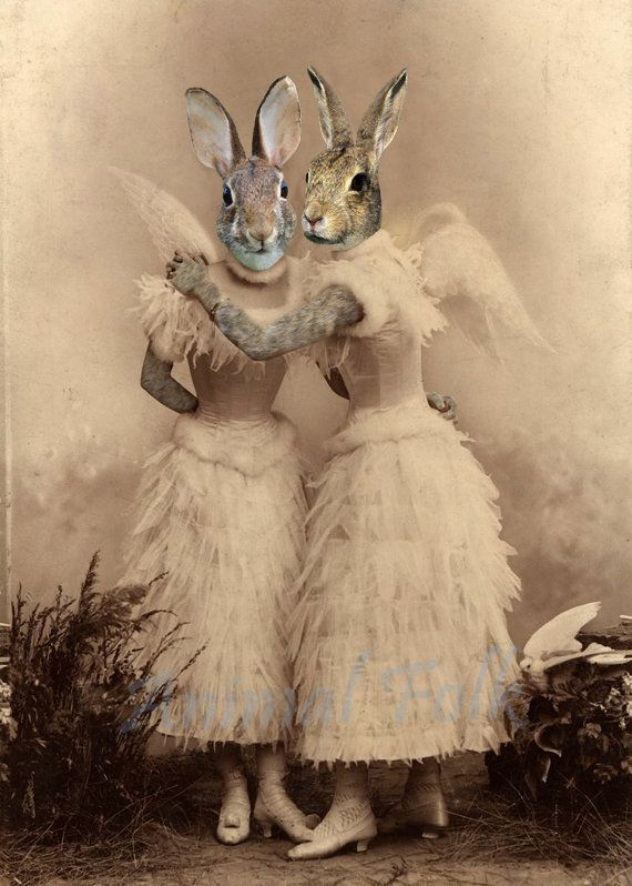 Easter ANGEL BUNNY SISTER rabbit Art digital Collage anthropomorphic Print Victorian steampunk fashion Altered Antique Photograph winged