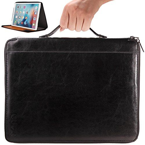 CUVR IPad Pro Case with Handle and Zipper for Easy Carrying Premium Vegan Leather Cover with Kick-Stand. Covers Your Apple on the Go #deals