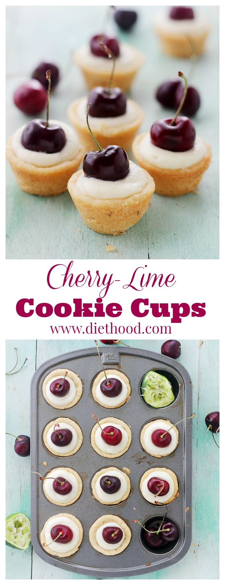 Cherry-Lime Mascarpone Cookie Cups | www.diethood.com | Sugar-cookie dough baked into a cup and filled with a creamy mascarpone mixture made with cherry liqueur and lime juice. | #recipe #dessert